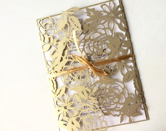 Gold Lace Laser Cut Wedding Invitation with Intricate Floral Design