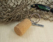 Cork Keychain, OH BUOY Cork Key Ring Personalized, Key Chain for Fisherman, Fishing Keychain for Him, Ready to Ship Gift Under 20