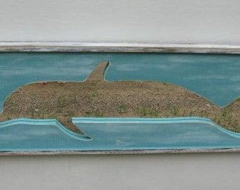 SALE-Dolphin,Painting, Mirror, Beach Wall Art,Beach Art,Ocean Painting, Distressed, Ocean decor,Coastal Art, Wood Wall Art
