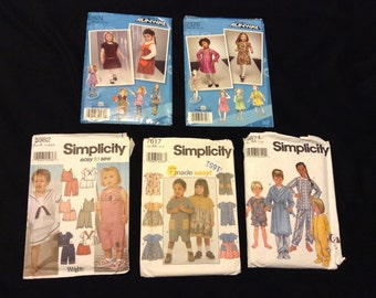 Destash Pattern Bundle of Five CUT Girl Size 1 Simplicity Patterns, Simplicity 5874, Simplicity 5982, Simplicity 7617, Simplicity 2574