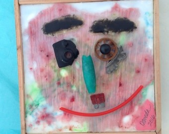 Kid's Room Decor - Encaustic Art - original art - Title: Smily Face - mixed media collage - Beeswax Art - Wall Candy - WhatNaughts Series