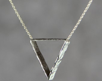 Sterling silver Simple Triangle textured hammered pendant necklace Bridesmaids gifts Free US Shipping handmade Anni Designs