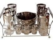 Complete Silver Rimmed Bar Set, Dot Design