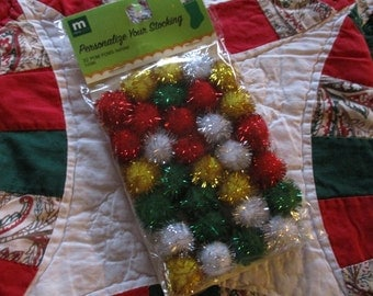 Holiday Christmas Pom Poms Metallic Gold, Silver, Red, Green  Craft Supply Making memories Package of 32 Size 5/8""