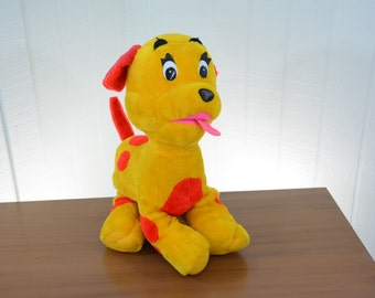 1970s GANZ Large Stuffed Red and Yellow Dog