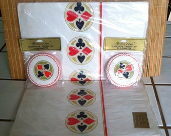 """Vintage 40's """"BRiDGE TABLE COVER & COASTER SETs""""  by House of Paper - An American Greetings Division"""