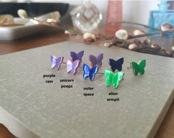 BUTTERFLY >> alien armpit >> cuz everyone should have neon green butterfly studs >> duh