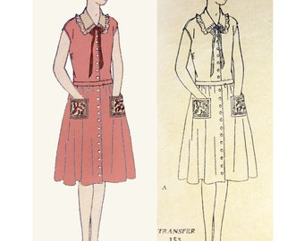 1920s Style Button Front Drop Waist Dress with Gathered Full Skirt Custom Made in Your Size From a Vintage Pattern