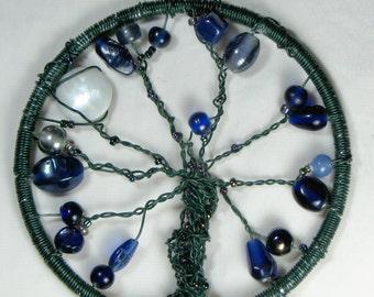 Blue Iridescent Metal Tree of Life Sun Catcher/ Window Ornament/ Plant Decoration