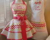 Mr. and Mrs. Custom Bridal Aprons, Featuring All New Pink & Gold Metallic Chevron Print...Perfect Wedding Accessory