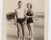 People On The Beach Wearing Swimsuits Vintage Photo Antique Bathing Suit Swimwear Fashion Photograph Paper Ephemera Travel Souvenir
