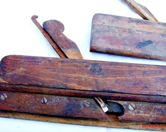 2 Primitive Moulding Planers, One is a Snowdeal, C. T. Thomaston -1850-1877 beechwood spar plane, the other could be handmade....