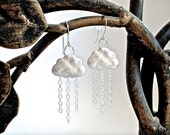 Rain Earrings - Raincloud Earrings / Rain Cloud Earrings in Rhodium Silver or Gold Finish - Cloud Earrings
