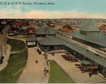 Vintage Postcard, Brockton, Massachusetts, Railroad Station, ca 1910