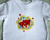 SALE super hero POW boys applique embroidered tshirt 18 months