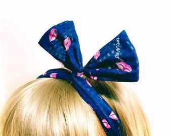 Bunny Ears Bow Wire Fabric Headband Headwrap (5 styles)