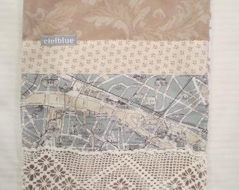 Paris Travel Bag Project Bag Shoe Bag Lingerie Bag Drawstring. Made with Vintage Linens