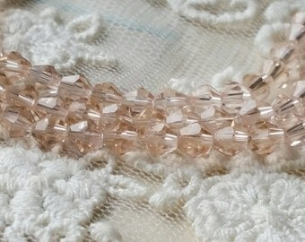 4 mm Peach - Pink Color Rhombus Shape Crystal Beads (.ms)