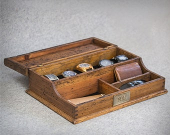Personalized  Men's Valet and Watch box - Holds 5 watches