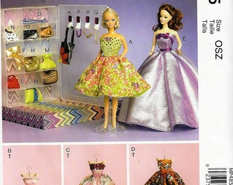 """McCall's M6903/MP485 11 1/2"""" Fashion Doll Pattern-Dresses, Clothing Box and Accessories   UncutFactory Folded"""