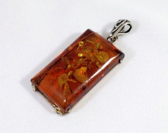 Vintage Genuine Dark Baltic Amber Pendant Sterling Silver Tracy B Designs Custom Jewelry Design and Repair Specialist