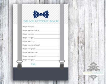 Baby Well Wishes - Printed Baby Shower Games - Little Man Bow Tie & Suspenders