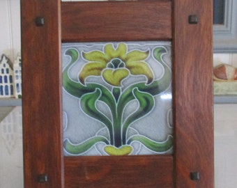 """Arts & Crafts 6"""" X 6"""" Tile Frame Handcrafted Mission Style Quartersawn White Oak Mission Style"""