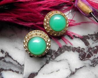 Mint Green Glass and Rhinestone Clip Earrings