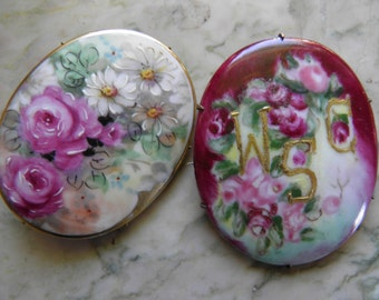 Large Pair of Victorian Hand Painted Porcelain Brooches, Pin with Pink Roses.