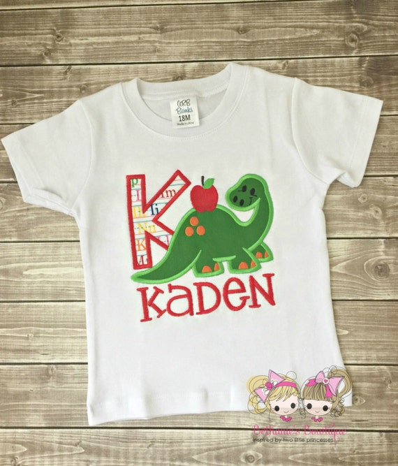 Back to School Dinosaur Shirt- Monogram- First Day of School- Last Day- Preschool, Kindergarten, First Grade