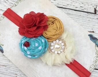Turquoise red mustard yellow Girl headband baby headband toddler headband fabric flower headband whimsical headband