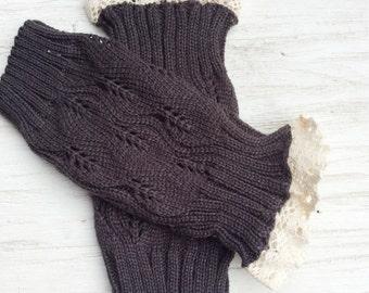 girl legwarmers big girls leg warmers toddler legwarmer knit warmers brown knit lace trim legwarmers photo prop adult legwarmers
