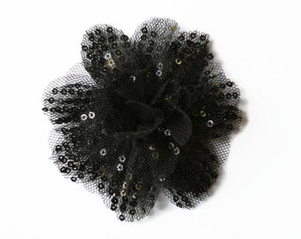 "Sequin and Tulle Flowers. 3.5""  BLACK Sequin Flowers. QTY: 1 Flower.  ~~ Noelly Collection."