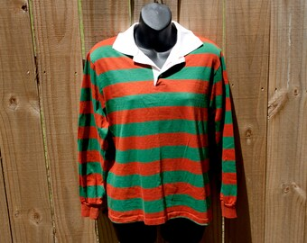 80s Striped long sleeve shirt - Dee Cee Rappers LS golf shirt - Freddy Krueger style button up polo