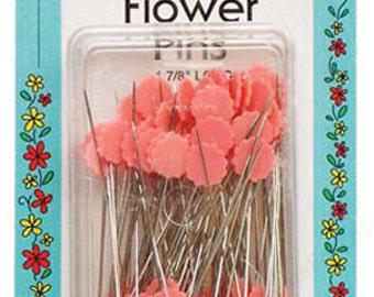 Pins Flat Flower Pink Box of 100