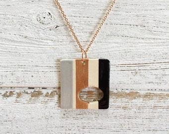 Ceramic Square Pendant, Black, Soft Grey, Rose Gold, Modern, Unique Gift, Minimal, Ceramics, Gift for Her, Spring Fashion, Ceramic Jewelry