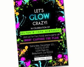 GLOW PARTY INVITATION- Black Light Party or Neon Birthday Invitation