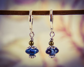 Silver Plated Lapis Lazuli Mixed Metal Gemstone Drop Earrings [E69]