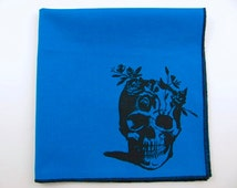 Hankie- FLOWER SKULL shown on super soft AQUA cotton hanky-or choose from white or solid colors or plaids shown in pics