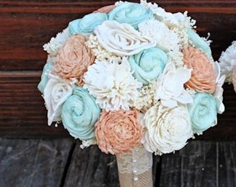 Handmade Wedding Bouquet- Peach Mint Ivory Bridal Bridesmaid Bouquet, Alternative Bouquet, Keepsake Bouquet, Rustic Wedding
