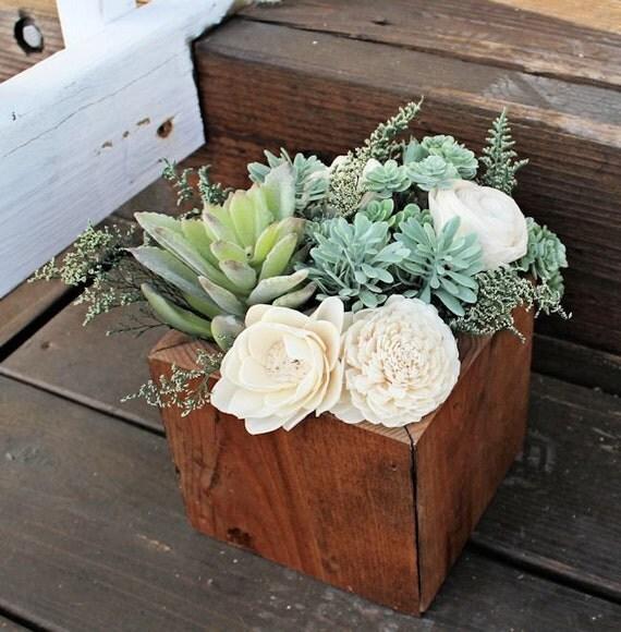 Succulent arrangement centerpiece wood box home decor