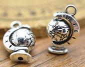 10pcs Antique Silver Globe Charm Pendant 17x23mm Center Piece is Movable M103-1