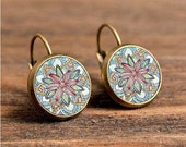 1 pair of 12mm or 16mm Handmade Antique Bronze Flower Glass Cabochon French Earwire Earrings