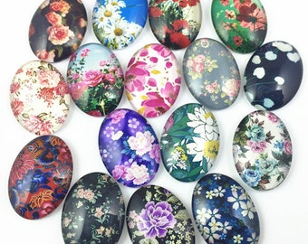 15pcs Mixed 18x25mm Handmade Photo Glass Cabochon - Flower