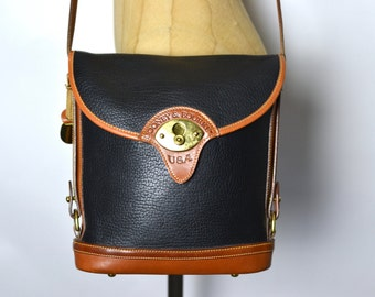 Vintage Dooney Navy Blue AWL Spectator Bag (All Weather Leather)