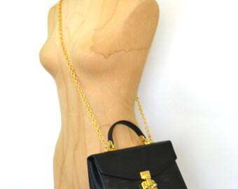 SALE! Vintage HCL Bag - Medium Black Leather and Gold Lock Framed Crossbody Purse