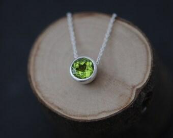 Peridot Pendant Necklace - Green Gemstone Pendant - Apple Green Peridot Necklace - Peridot Silver Pendant - Free Shipping