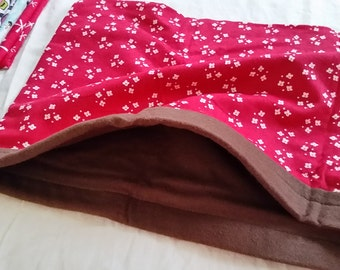 Ferret Sleeper Sack / Small Animal Bedding - Large - Red with White Flowers