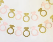engagement ring garland, pink and gold ring garland, pink and gold wedding, pink and gold wedding shower, pink and gold rings, pink wedding