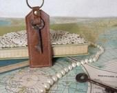 London tan // Vintage skeleton key // Leather key chain // Key Fob // Purse charm // Luggage tag // Bridesmaid gift // Ready to ship